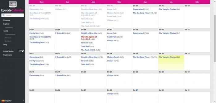 Calendario para saber por qué episodio vas